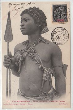 Africa | Tanosy warrior from Madagascar || Scanned old postcard
