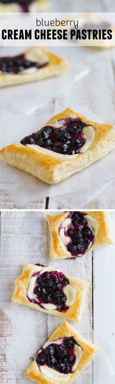 These Blueberry Cream Cheese Pastries have puff pastry that is topped with sweetened cream cheese and a blueberry mixture for a perfectly decadent breakfast treat.