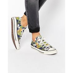 Converse All Star Chuck Taylor Tropical Print Ox Plimsoll Sneakers (109 AUD) ❤ liked on Polyvore featuring shoes, sneakers, multi, converse shoes, plimsoll shoes, low top, low top canvas sneakers and lace up sneakers