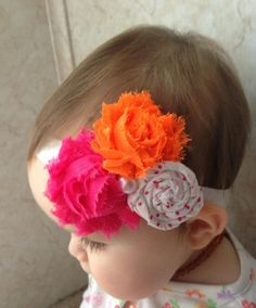 Triple Headband with Shabby Chic Flowers and Fabric Rosette with Pearl Center
