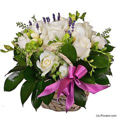 Reliable delivery of flowers in Kiev, Ukraine and all over the world. Flower Basket, Flower Boxes, Gifts For Your Girlfriend, We Can Do It, 8th Of March, White Roses, Floral Wreath, Wedding Day, Bouquet
