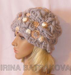 Купить Шапка теплая женская № 600 - бежевый, ирина батракова, шапка, шапка женская