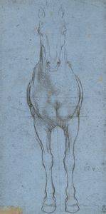A horse from the front  c.1490  Leonardo da Vinci (1452-1519)  Probably acquired by Charles II; Royal Collection by 1690