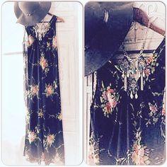 70's retro maxi dress ~ bohemian gypsy maxi dress ~ vintage clothing