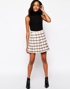 Warehouse Brushed Check Kilt Skirt - Pink #skirt #women #covetme #warehouse #covetme #love #fashion #clothes #shoes #makeup