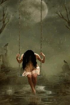 Swinging in the rain ...... The rainbow is coming. Artist unknown. This is what depression looks like.