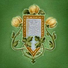 Antique Art Nouveau Arts & Crafts Ceramic Tile