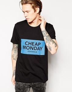 Cheap Monday T-Shirt Bruce Inverted Box Logo Print - Black