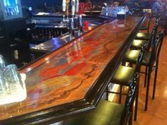 Brown Metallic Paint With Red And Yellow Painted On Top Cool Idea For  Basement Bartop