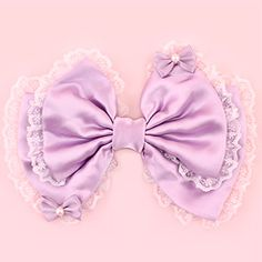 Hime Dreams Bows on Bow Hair Clip - Lavender