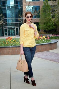 The Bouncy Ponytail: a bright yellow chevron top with jeans & heels.