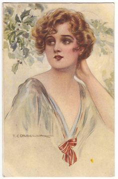 Italian fashion postcard - Young woman in early art deco outfit, artist signed Corbella card - Antique romantic postcard - 1918 (A789)