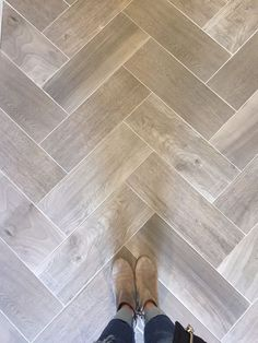 Love wood tile in a herringbone pattern. Such a great look and SO DURABLE! (Floo… Love wood tile in a herringbone pattern. Such a great look and SO DURABLE! Bathroom Renos, Bathroom Flooring, Kitchen Flooring, Kitchen Wood, Kitchen Grey, Kitchen Tiles, Bathroom Ideas, Diy Kitchen, Kitchen Decor