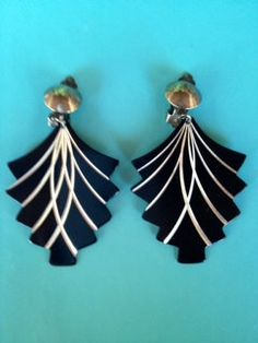 Black And Silver Art Deco Design Clip On Earrings Attn Wardrobe Designers   by PaintItWhiteDecor, $4.50