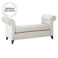 Featuring tufted detailing along its elegantly rolled arms, this wood-framed settee adds extra seating in your entryway or brings a glamorous touch to the di...