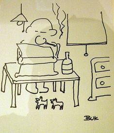 Charles Bukowski.  Self portrait.