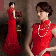 Ravishing Red Lace Cheongsams