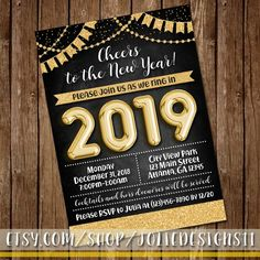 cheers to the new year invite new years eve celebration party invitation sparkle gold glitter gold foil balloon silver glitter 5x7