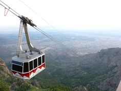 Sandia Peak Tramway, the longest in North America, rises from a 6,559' base elevation to 10,378' at the upper station. The view includes all of Albuquerque and roughly 11,000 square miles of the New Mexico countryside.