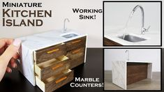 DIY Miniature - Kitchen Island (working sink!) - YouTube