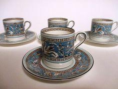 4 Wedgwood Florentine Turquoise Demitasse Cup & Saucer Sets Fruit Center…