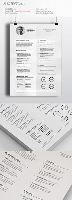 Clean Resume by Realstar Very Clean and informative Template. No installation required fonts. Insert your data and send it to print! You – a fa Graphic Design Resume, Resume Design Template, Resume Templates, Cv Template, Portfolio Resume, Portfolio Design, Resume Layout, Resume Cv, Cl Design
