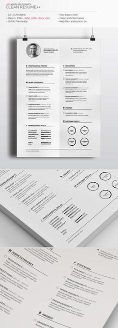 Clean Resume+ by Realstar, via Behance