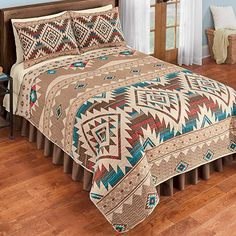 Reversible Southwest Geometric Aztec Quilt Size King With Matching Pillow Shams Aztec Bedroom, Southwest Bedroom, Aztec Bedding, Southwestern Bedding, Southwest Home Decor, Western Bedroom Decor, Western Rooms, Western Bedding Sets, Country Bedding