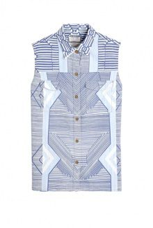 Mary Katrantzou X CURRENT/ELLIOTT the keys print sleeveless denim shirt