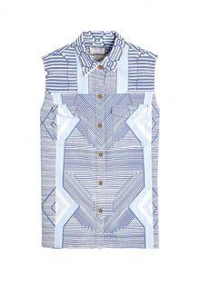 Mary Katrantzou X CURRENT/ELLIOTT the keys print sleeveless denim shirt