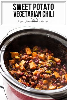 Vegetarian sweet potato chili recipe using a slow cooker or crockpot is perfect for winter days. | www.ifyougiveablondeakitchen.com