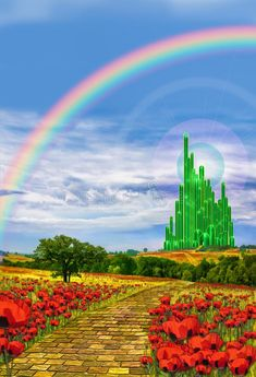 Emvency Tapestry Fields Musical The Yellow Brick Road Leading Into Emerald City in Land of Oz Poppy Rainbow Home Decor Wall Hanging for Living Room Bedroom Dorm Inches *** Visit the image link more details. (This is an affiliate link) Wizard Of Oz Decor, Wizard Of Oz Movie, Wizard Of Oz 1939, City Backdrop, Castle Backdrop, Snow White Birthday, Land Of Oz, Fantasy Castle, Rainbow Flowers