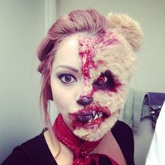 horror teddy bear fx makeup transformation tutorial! Please subscribe to my channel! xox