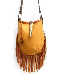 Leather fringe bag.