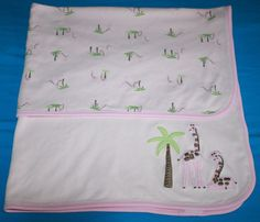 Gymboree Pink Giraffe Palm Tree Receiving Baby Girl Blanket 2 ply thin Cotton #Gymboree #GiraffeBabyBlanket