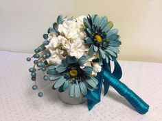 Teal Wedding Bouquet, Daisy Bouquet, Blue Wedding Bouquet, Blue and Green. normally not a fan of flowers in colors not found in nature-- but I like these.