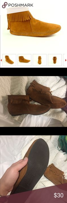 Minnetonka Moccasin Boots w/ hardsole Lightly worn (apparent via pictures), great pair of shoes for every season. Most comfortable booties I've worn(have multiple pairs) make an offer if you're interested happy fall :) Minnetonka Shoes Ankle Boots & Booties