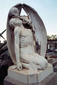 "(Note: Very moving and thought-provoking ""Kiss of Death"" cemetery sculpture can be found in the Poblenou Cemetery in Barcelona, Spain. Cemetery Angels, Cemetery Statues, Cemetery Art, Memento Mori, La Danse Macabre, Arte Peculiar, Kiss Of Death, Old Cemeteries, Graveyards"