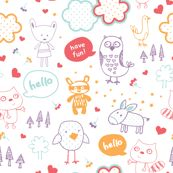 everyone say hello! fabric by minkypnoo for sale on Spoonflower - custom fabric, wallpaper and wall decals