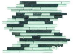 """CEBREIRO 29,7x30 cm./ 11,69""""x11,81""""  Mosaico de pizarra negra combinada con cristales blancos en brillo y mate."""