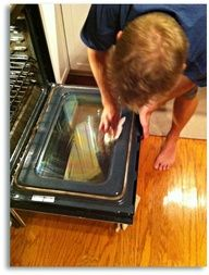 quickest way to clean your oven without any toxic chemicals. I just did this and I cant tell you the last time I could see through my oven door:)