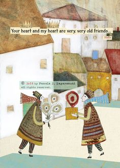 202 Old Friends CARD 5x7 Front and back by PamelaZagarenski