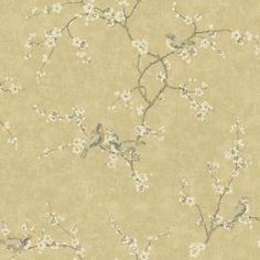 York Wallcoverings Metallic II ft Gold Paper Floral Prepasted Soak and Hang Wallpaper at Lowe's. This timeless Asian motif of cherry blossoms and songbirds possesses a delicacy of line, a softly glowing background and crackled, aged appearance. Bird Wallpaper, Wallpaper Samples, Wallpaper Roll, Custom Wallpaper, French Wallpaper, Cream Wallpaper, Painted Wallpaper, Wallpaper Patterns, Embossed Wallpaper