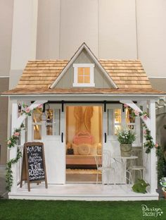 Shabby Chic Mom Cave Bungalow - Design Dazzle - Turn a shed into a beautiful Mom Cave! Check it out on Design Dazzle.