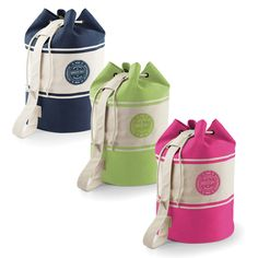 Fun and funky coloured personalised duffle bags available in navy, green and pink.