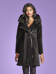 Vegan winter dream coat! If only...  Emily In Insulated Organic Moleskin - Black + Red - VauteCouture