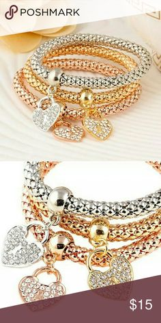 Silver, Gold, Rose Gold Bracelets NWT 3Pcs In One Bracelets Fashion 18K Gold Plated Silver Rose Gold Metal Elastic Rhinestones Heart Pendant Love Bracelet Casual Chain Women Bangle Jewelry (Color: Multicolor)  2 in Stock more Coming Final Price Jewelry Bracelets