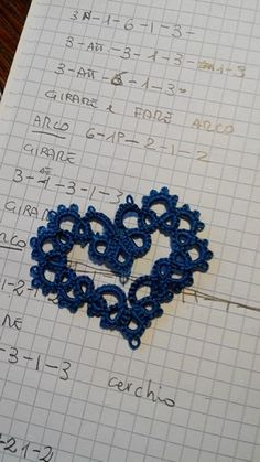 Needle-tatted heart: love this