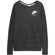 Nike Vintage cotton-blend jersey sweatshirt (66 CAD) ❤ liked on Polyvore featuring tops, hoodies, sweatshirts, nike, sweaters, grey, gray sweatshirt, vintage sweatshirt, grey sweatshirt and nike tops