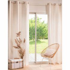 Buttonhole curtain with graphic pattern 110x250 |  Maisons du Monde